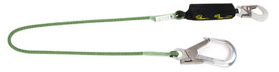 Bandfalldämpfer Verbindungsmittel kantengetestet 2 m mit Gerüsthaken + Automatikkarabiner