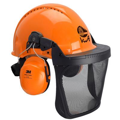 3MO315B Helmkombination mit KWF Logo, orange, mit H31 Gehörschutz und V5B Netzvisier