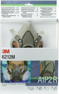 6212M Gase- und Dämpfe Maskenset A1P2, mit Maske 6200M, 2 x 6051 A1 Filter, 4 x 5925