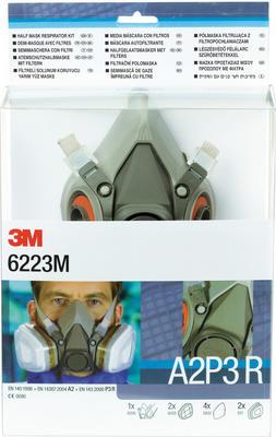 6223M Gase- und Dämpfe Maskenset A2P3, mit Maske 6200M, 2 x 6055 A2 Filter, 4 x 5935 P3R