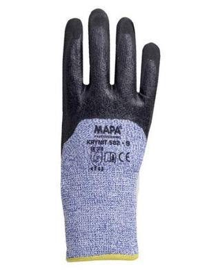 Blau/weisse Schnittschutzhandschuhe MAPA aus HPDE- Gestrick mit Nitril-Teilbeschichtung