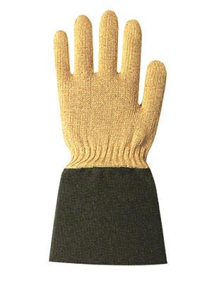 Hitzeschutzhandschuhe aus Aramid-Gestrick, Baumwoll-Strickfutter, Segeltuchstulpe