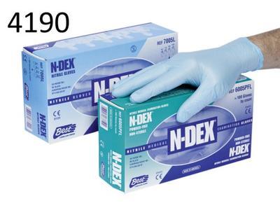 Hellblaue Einweghandschuhe aus Nitril, leicht gepudert  (8 ), 100 Stück/Box