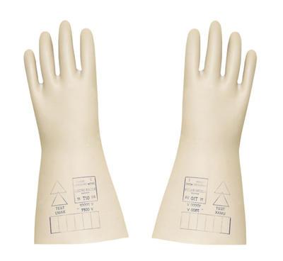 Beige Elektroschutzhandschuhe aus Naturlatex, Prüfspannung 5'000 V, 36 cm lang