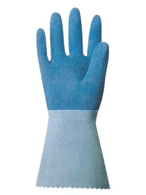 Blaue, aufgerauhte Naturlatex-Schutzhandschuhe MAPA, Trikotfutter, 32 cm lang  ½