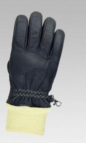 Feuerwehr-Schutzhandschuhe aus schwarzem Rindnarbenleder, Aramid-Strickstulpe