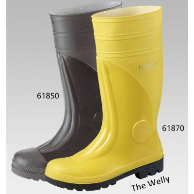 Bau-Sicherheitsstiefel THE WELLY aus gelbem PVC-Kunststoff, Trikotfutter
