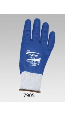 Blaue Baumwolltrikot-Handschuhe COMASEC mit Nitril-Vollbeschichtung, elastische Stuple