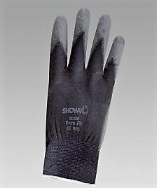 Graue Nylon-Strickschutzhandschuhe SHOWA, Hand- fläche PU-beschichtet -7 1/2
