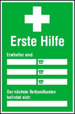 Aushang / nachleuchtend Ersthelfer-Verzeichnis Selbstbeschr.