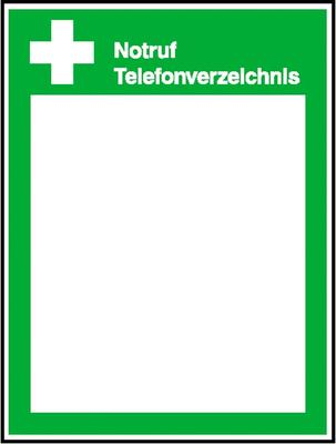 Aushang Notruf Telefonverzeichnis mit Inneneindruck nach Wahl