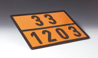 Gefahrentafel nach GGVS/ADR, Einstofftafel, mit Kemmler-Zahl und UN-Nummer nach Wahl, verzinktes Sta
