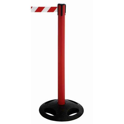 Absperrsysteme GuideLine Kunststoffpfosten, rot, Höhe: 1,0 m, 4-Wege-Kassette (schwarz), Nylongewebe