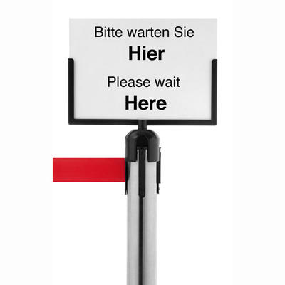 Absperrsysteme Zubehör Guide - Line, Schild A4 quer, aus Kunststoff, Rahmenfarbe schwarz