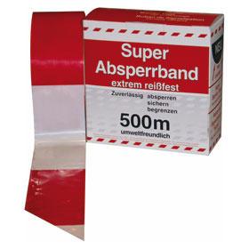 Absperrband in Spenderbox mit Abrollvorrichtung rot/weiß geblockt