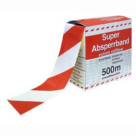 Absperrband in Spenderbox mit Abrollvorrichtung rot/weiß schraffiert