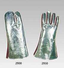 HitzeschutzDreifingerhandschuhe aus Spezialspaltleder / aluminisiertem Aramid-Gewebe