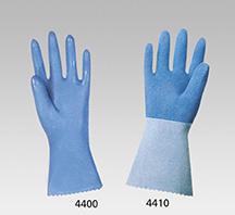 Blaue, aufgerauhte Naturlatex-Schutzhandschuhe MAPA, Trikotfutter, 32 cm lang