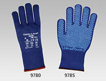 Blaue Kälte-Strickhandschuhe ANSELL aus Spandex/Acryl, warmes Acrylfutter, PVC-Noppen
