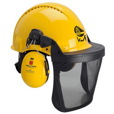 3M™ G3000 Kopfschutzkombination 3MY515B in Gelb mit H510P3E Kapseln, Ratschensystem, Visier 5B Polya