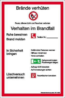 Aushang Brandschutzordnung Teil A gem. DIN 14096-1 Ausführung: BRD und Landkreis München