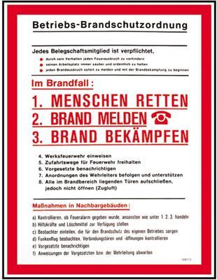 Aushang Betriebs-Brandschutzordnung
