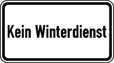 Zusatzzeichen nach StVO mit Sondertext - Nr. 2026 Kein Winterdienst