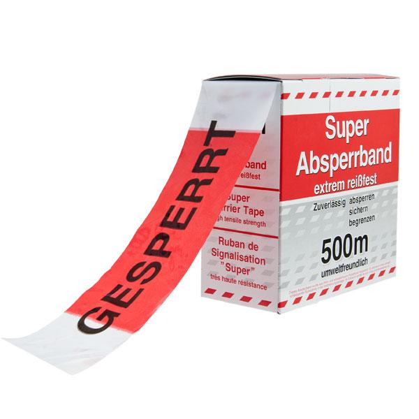"""Absperrband in Spenderbox mit Abrollvorrichtung rot/weiß schraffiert """"GESPERRT"""""""